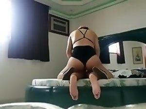 Transvestite in black panties fucks guy