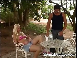 Super sexy blonde shemale getting her tight asshole stretched in the garden