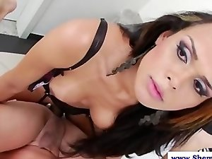 Amateur shemale in lingerie fucks dude