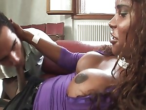 Sexy well-endowed black Latina TS fucks guy.