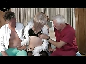 2 men and 1 amateur crossdresser
